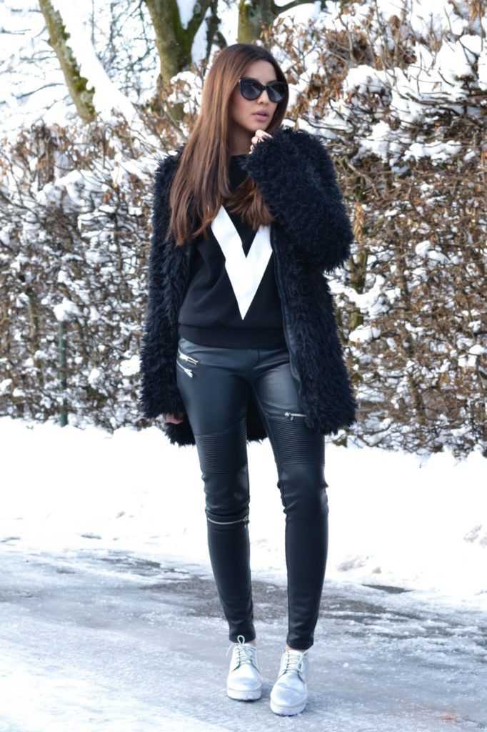 Furry Fashion Trend: Consuelo Paloma is wearing a black furry jacket from NY Broadway
