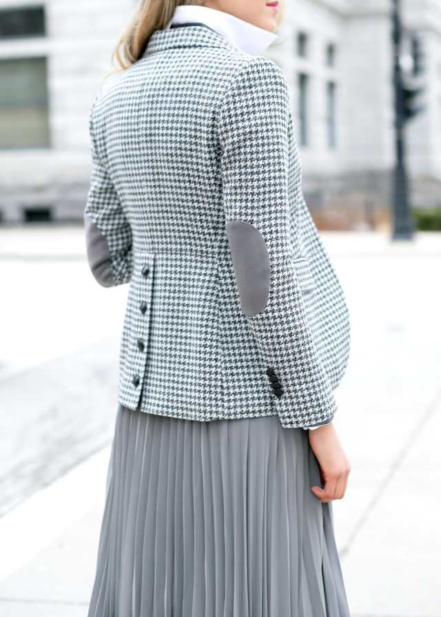 It is all about the houndstooth printed blazer from Brooks Brothers Via Mary Orton