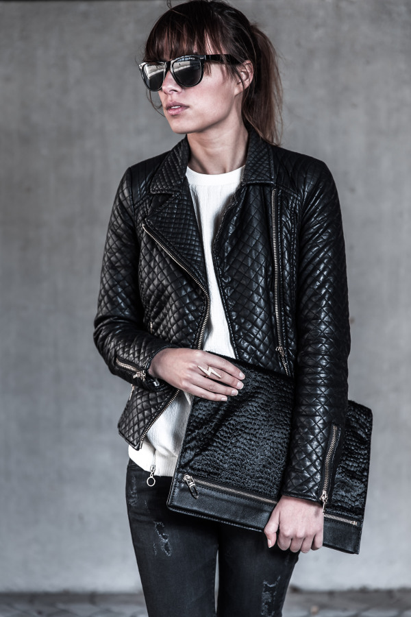 Michelle is wearing a quilted leather jacket from Zara