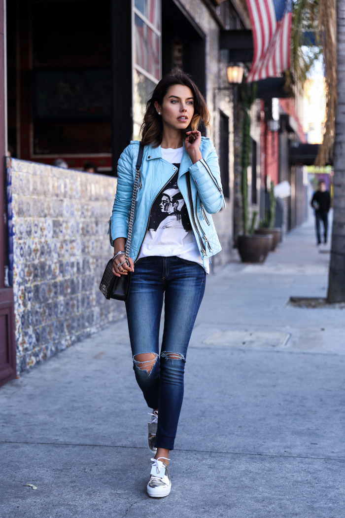 Annabelle Fleur is wearing a pale blue Kay Michaels quilted biker leather jacket from Boda Skins