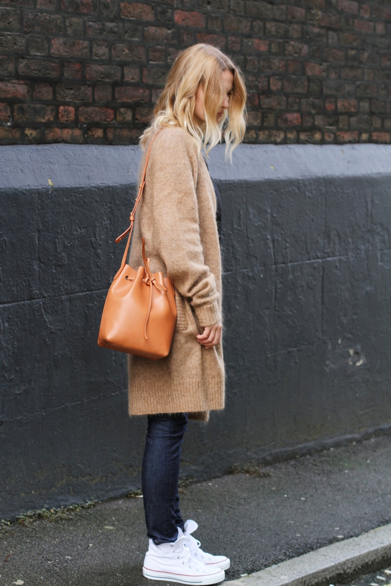 Long Cardigan Trend, 2014: Mirjam Flatau is wearing a camel long cardigan from Acne