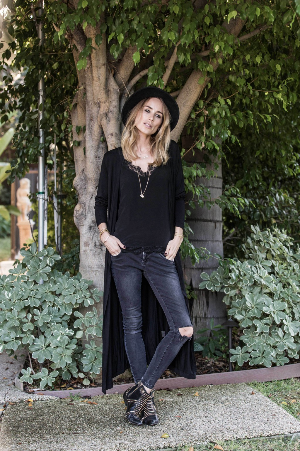 Anine Bing in a black dress converted into a long cardigan created by Pamela Bellafesta For Stylein