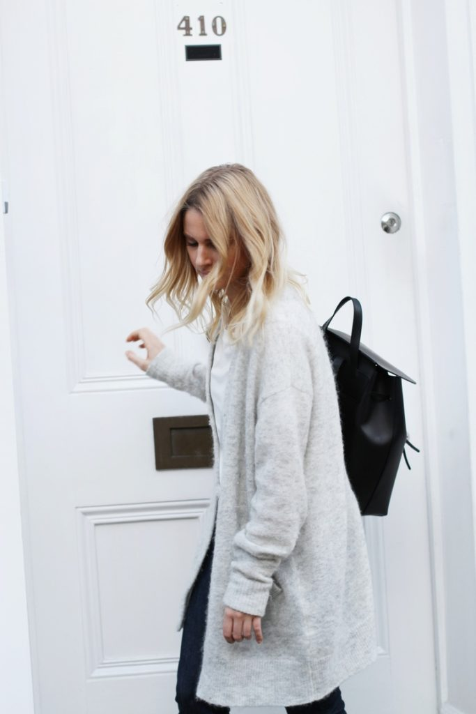 Long Cardigan Outfits: Mirjam Flatau is wearing a pale grey Raya mohair and wool-blend cardigan