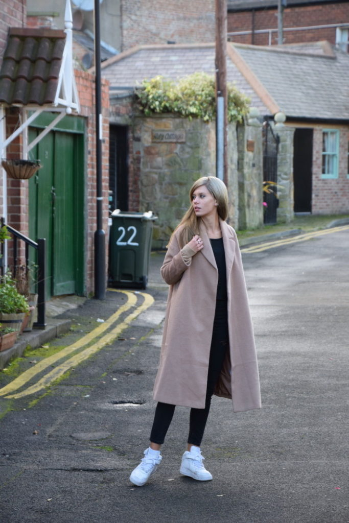 Normcore Fashion Trend 2014: Lovely by Lucy keeps it simple, showing exactly how it is done, (The plain fronted camel coat is from Asos.)