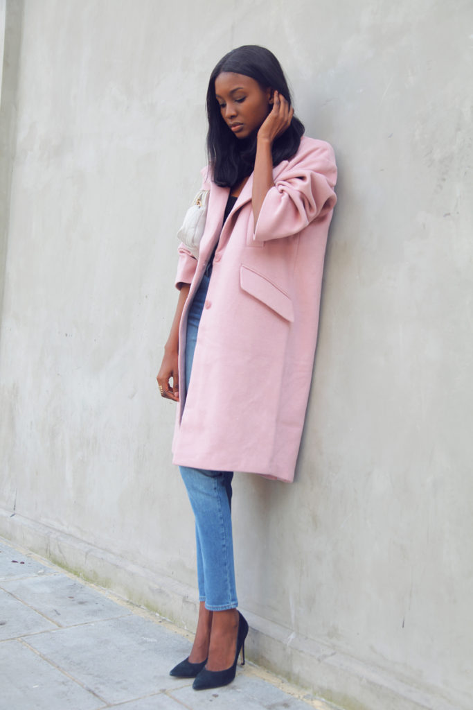 Natasha Ndlovu is wearing an oversized pink cocoon coat from Asos