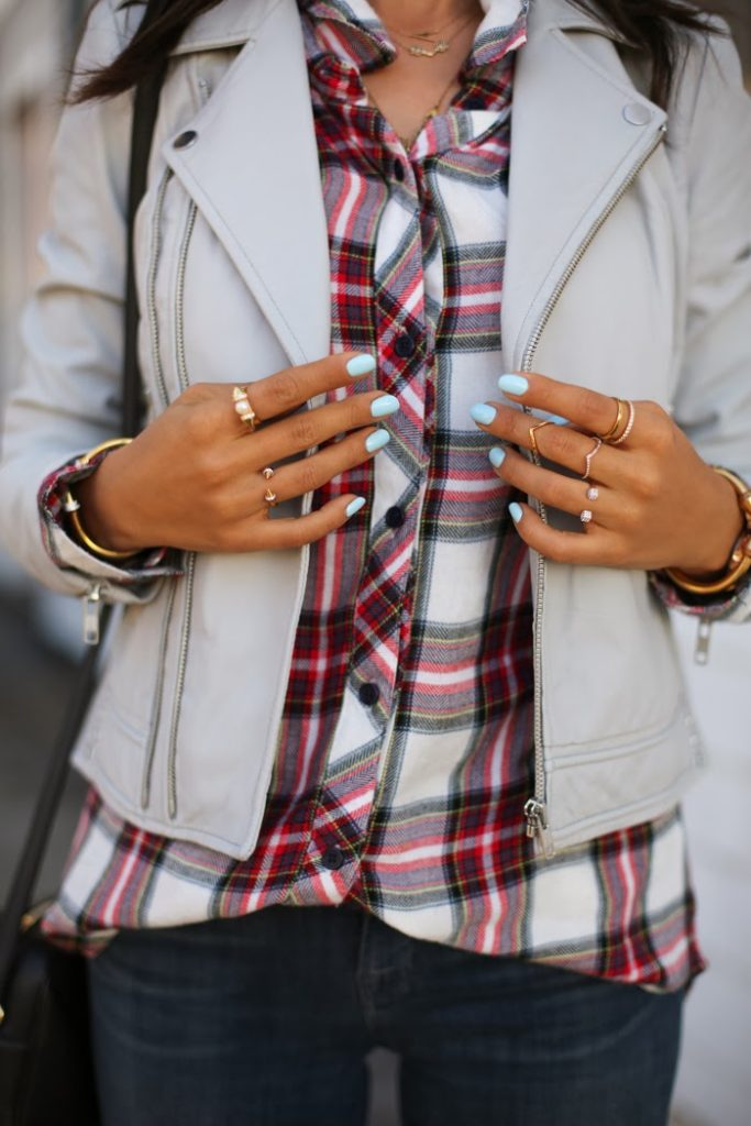 Annabelle Fleur is wearing a plaid button down shirt from Rails