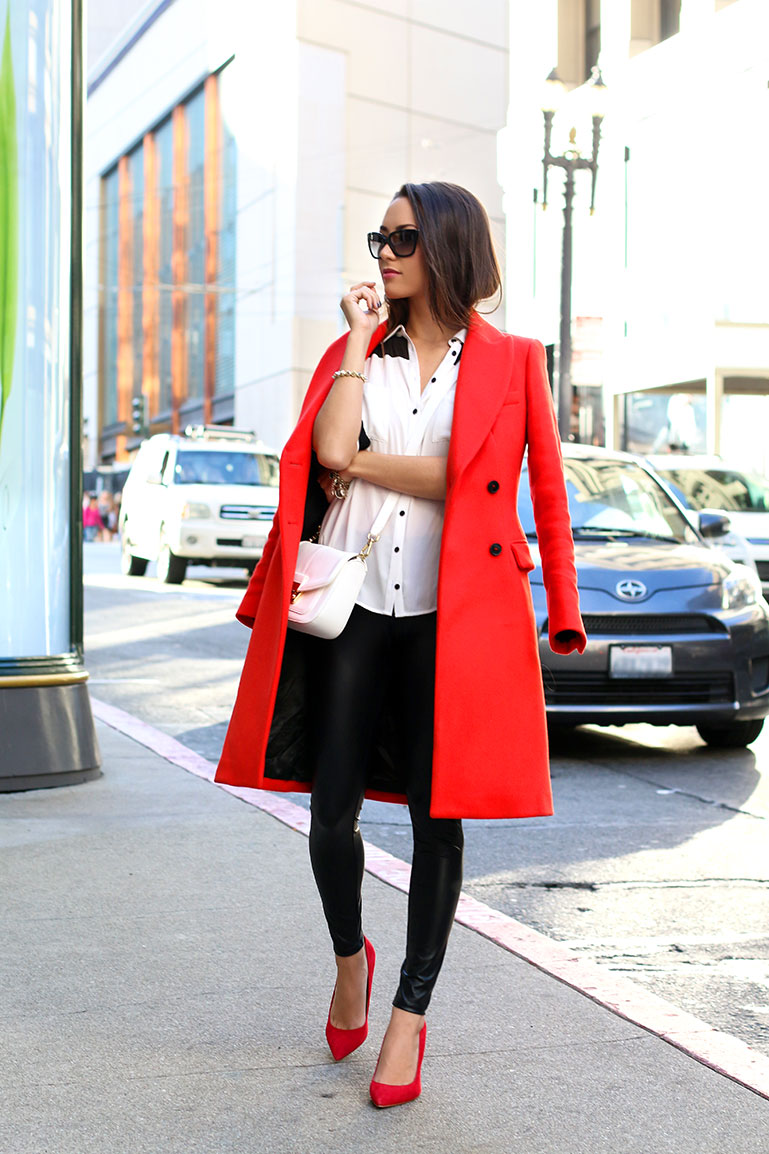 Red For Autumn 2014: Jessica R. is wearing a red coat from Zara
