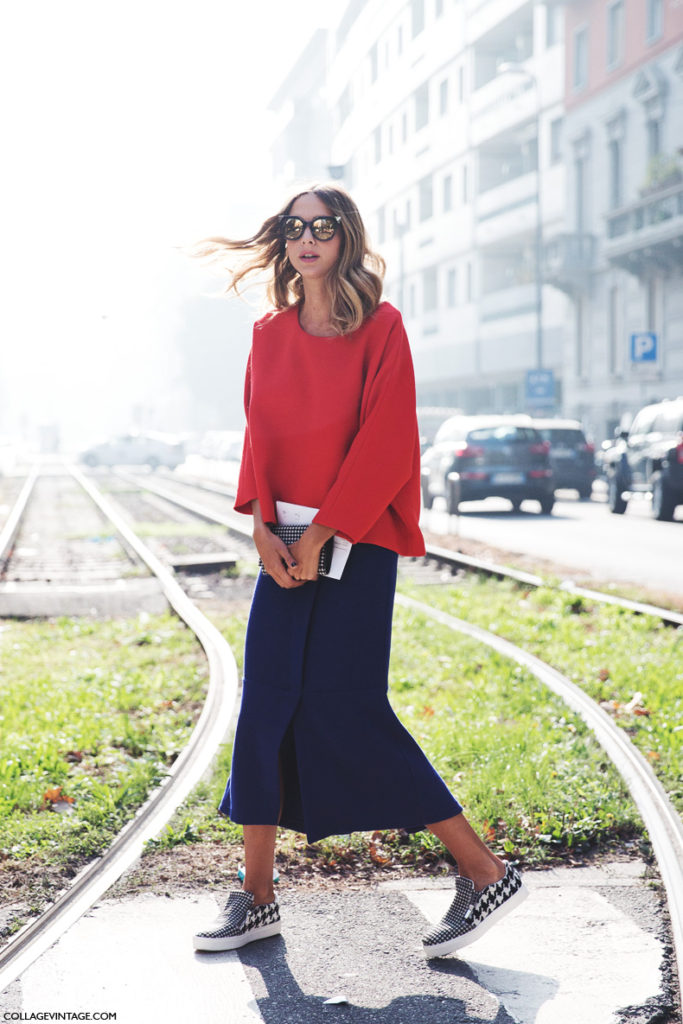 Collage Vintage shows street style in Milan. It is all about the red jumper. The IT colour for Autumn 2014