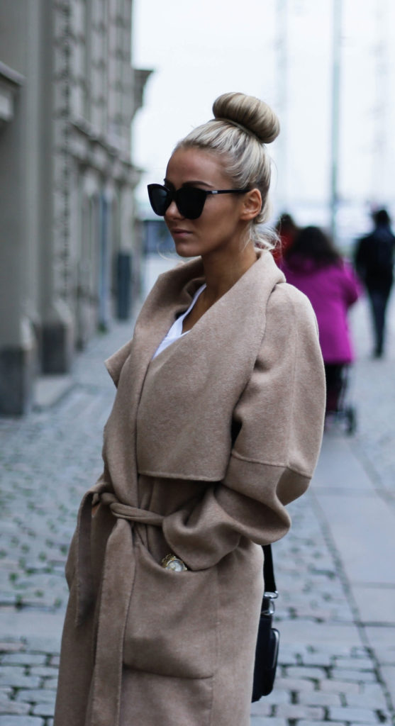 Sendi Skopljak is wearing a long wool camel robe coat from Zara