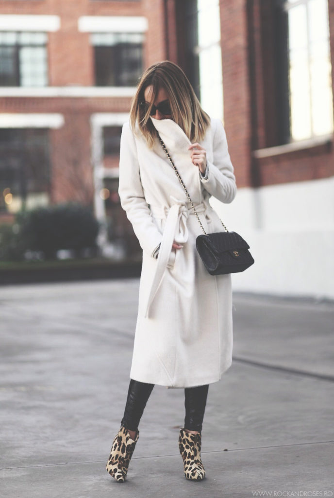 Silvia Postolatiev is wearing a white robe coat from Marks & Spencer