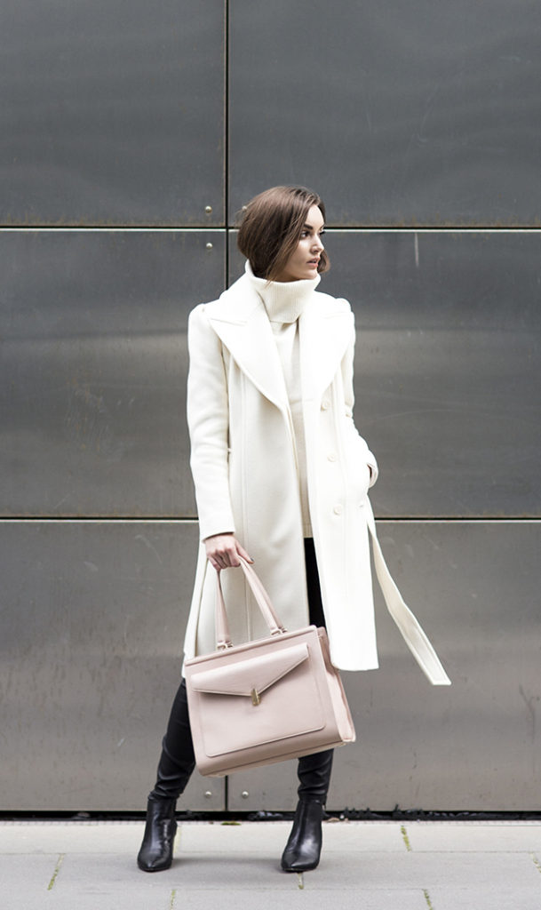 Anouska Proetta Branson in her white robe coat from Reiss