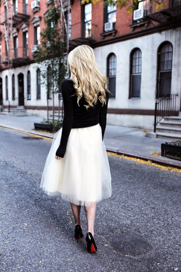 We don't care, the tutu skirt is still cute and sexy Blair Eadie in a tutu skirt from Anthropologie, black turtleneck from Calypso and the shoes from Christian Louboutin