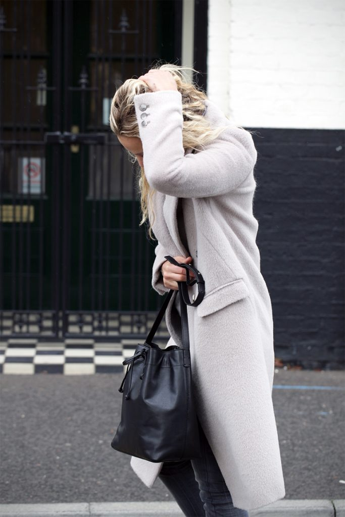 We love Anouk Yve's pale grey brushed wool coat from Iris & Ink