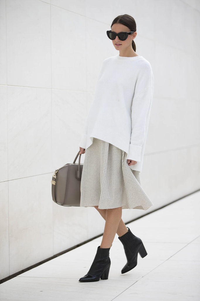 Zina Charkoplia in an awesome pale grey mesh midi skirt from Zara