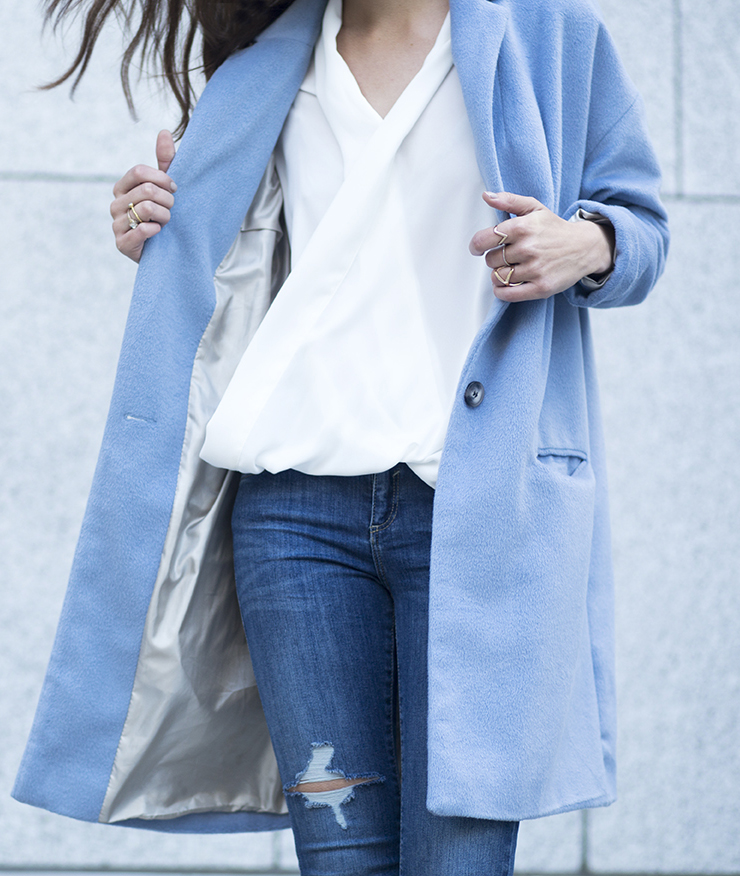 Anouska Proetta Branson is wearing a pale blue winter coat from River Island
