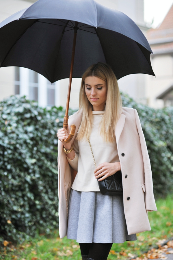 Katarzyna Tusk in a grey skirt from Mosquito, black bag and plae pink coat from Zara and the top is by Katarzyna herself