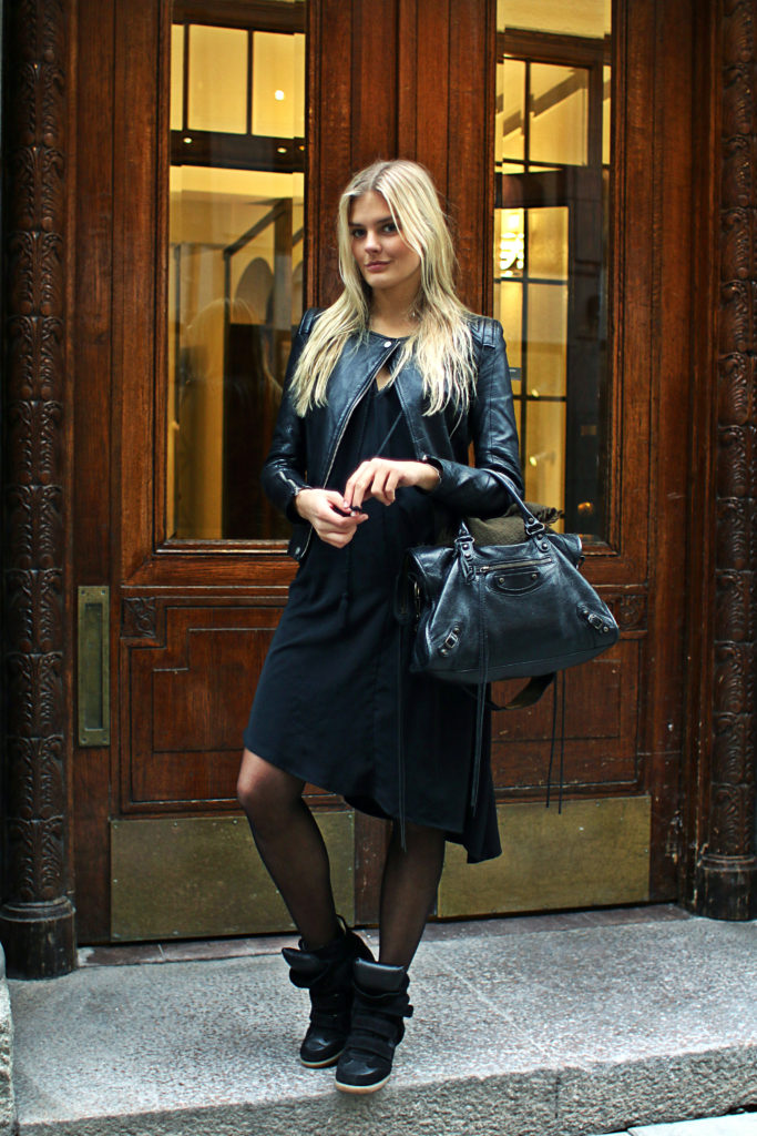 Jennifer Sandsjo street style black leather jacket, dress and sneakers from Zara and H&M