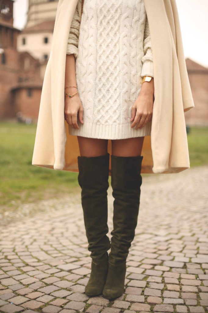 Priscila Betancort is wearing a pair of khaki Sarenza over the knee boots