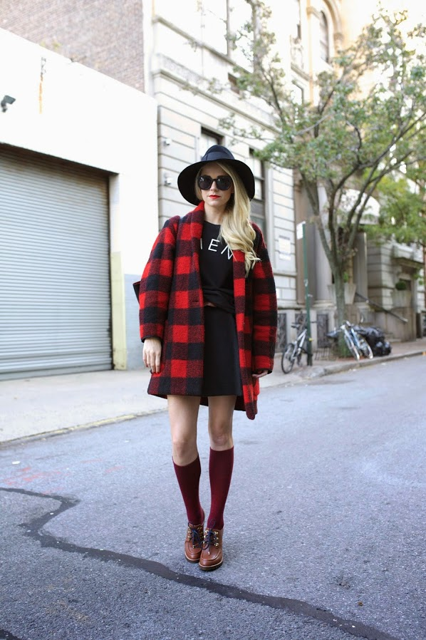 Blair Eadie is wearing a  buffalo plaid jacket from Isabel Marant