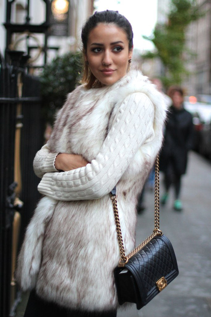 Tamara Kalinic is wearing a furry vest from River Island