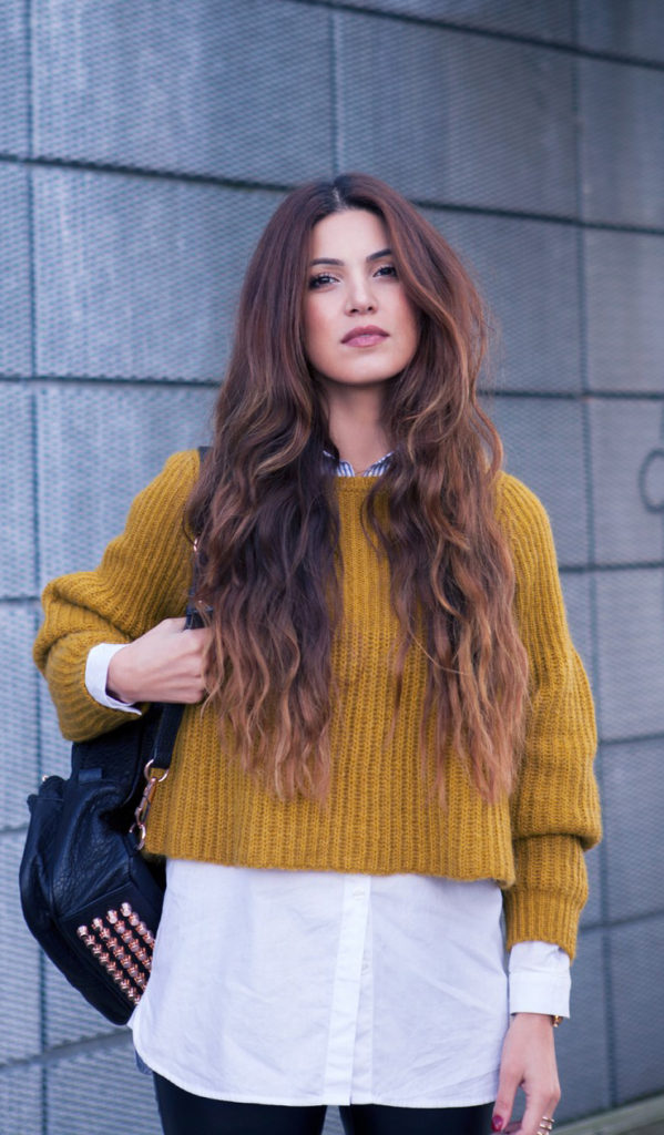 Fashion Trend, Mustard: Negin Mirsalehi is wearing a mustard coloured knit top from Co-ord