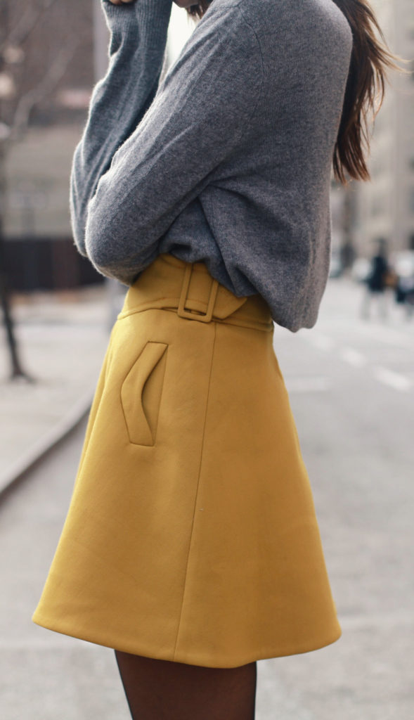 Mustard Fashion Trend: Danielle Bernstein is wearing a mustard skirt from Carven