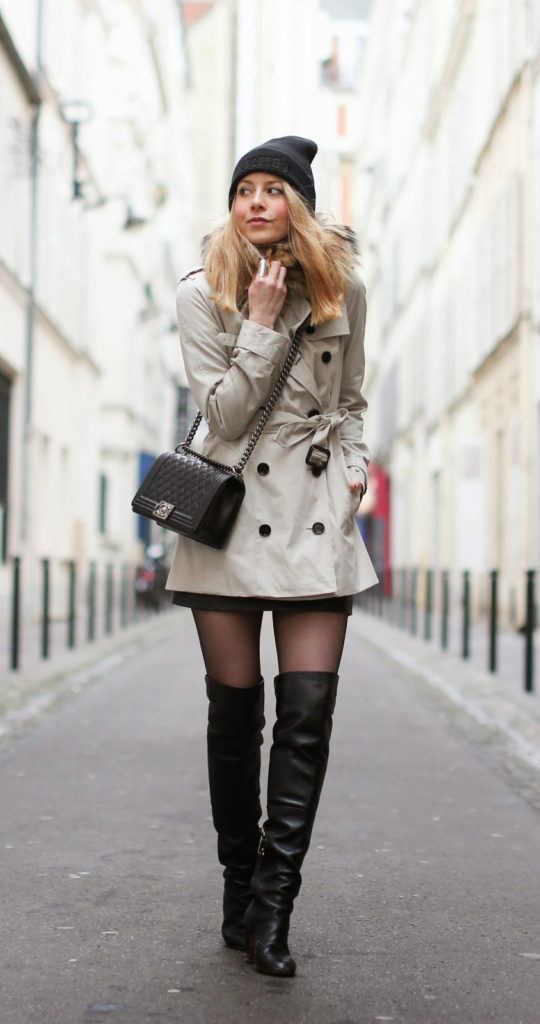 Over The Knee Boots Trend: Caroline Louis is wearing over the knee boots from Chanel