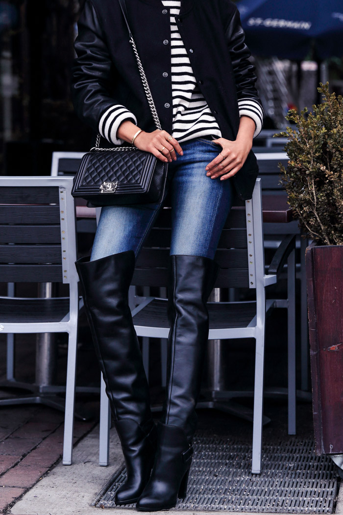Annabelle Fleur is wearing a Saddle over-the-knee boots from Sergio Rossi