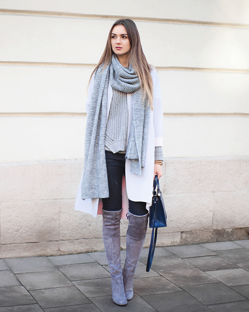 Grey Over The Knee Suede Boots - Cr Boot
