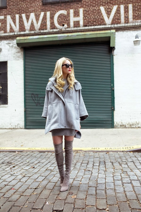 Blair Eadie is wearing grey Highland over the knee boots from Stuart Weitzman