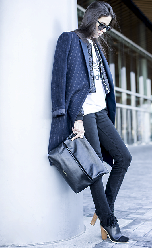 Pinstripe Jacket With Jeans: Melissa Araujo is wearing a pinstripe jacket from Mango and the jeans are from Get Plenty