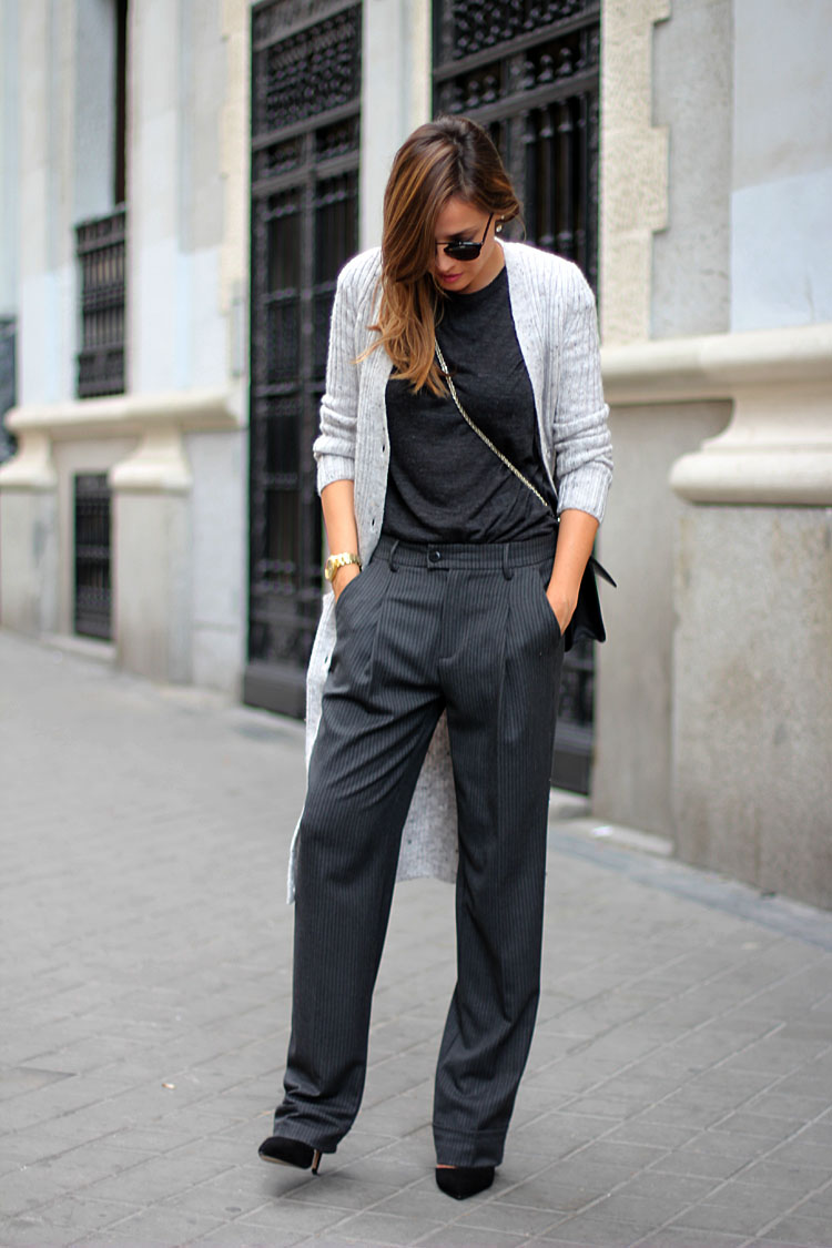 Silvia Zamora is wearing pinstriped trousers from Zara