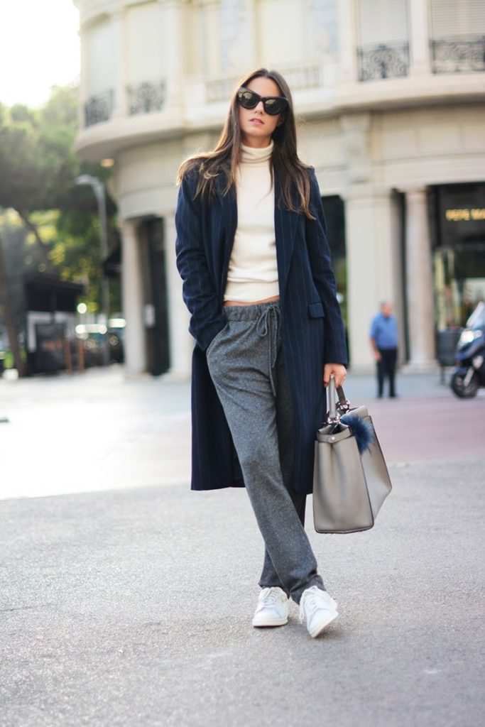 Pinstripe Autumn Fashion Trend, 2014: Zina Charkoplia is wearing a pinstripe coat from Zara