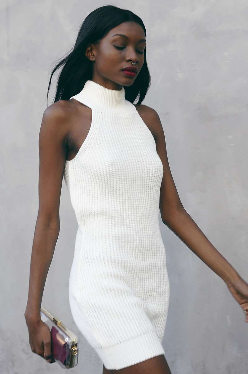 Natasha Ndlovu street style in a white knitted dress from MissGuided