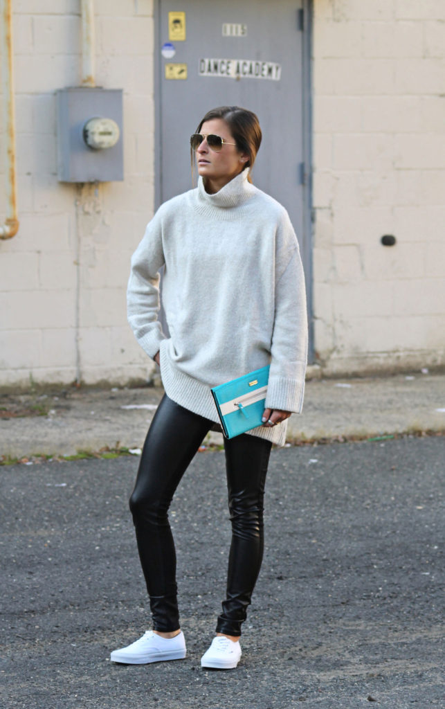 Tilden Brighton is wearing a knit jumper from Zara, trousers from H&M and the shoes are from Vans