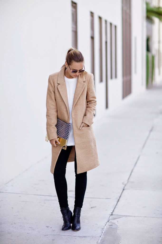 Liz Cherkasova is wearing a long duster coat from Forever21, jeans from 7fam, white sweater from Unif, boots from Elizabeth and James and the bag is from The Finds