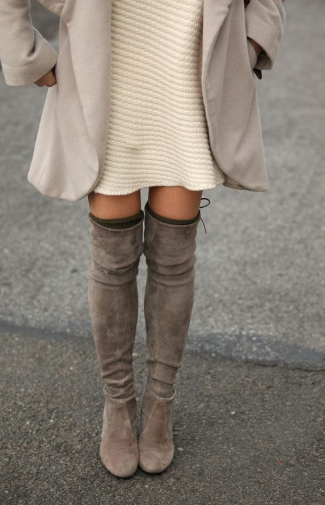 The over-the-knee-boots trend is shown off brilliantly with these suede knee high boots