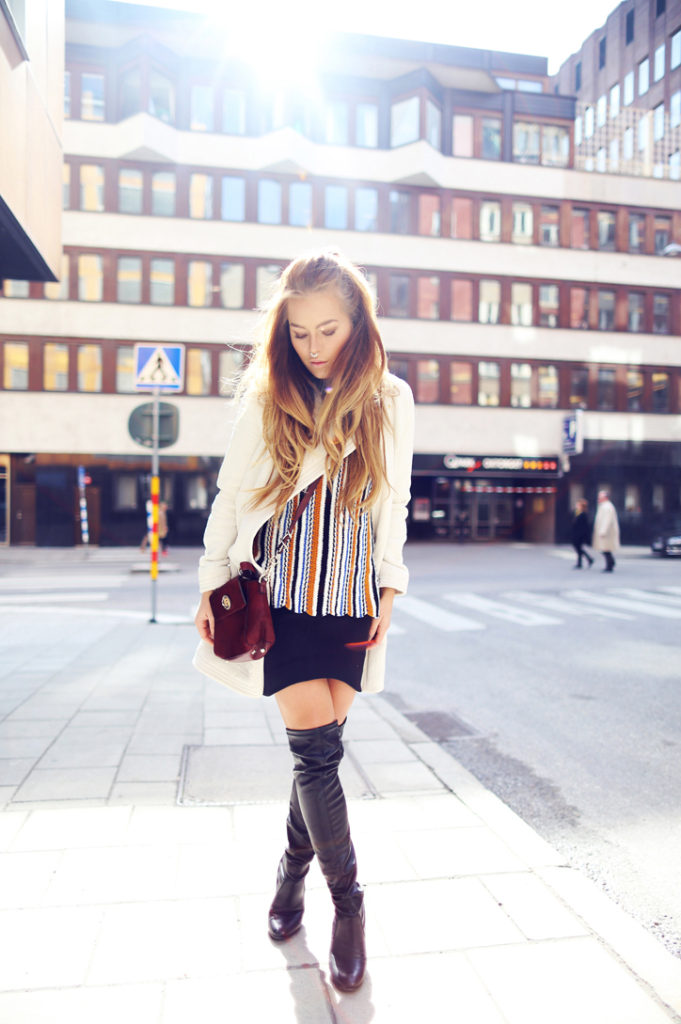 Over The Knee Boots Outfits: Angelica Blick is wearing a pair of black leather Zalando over the knee boots