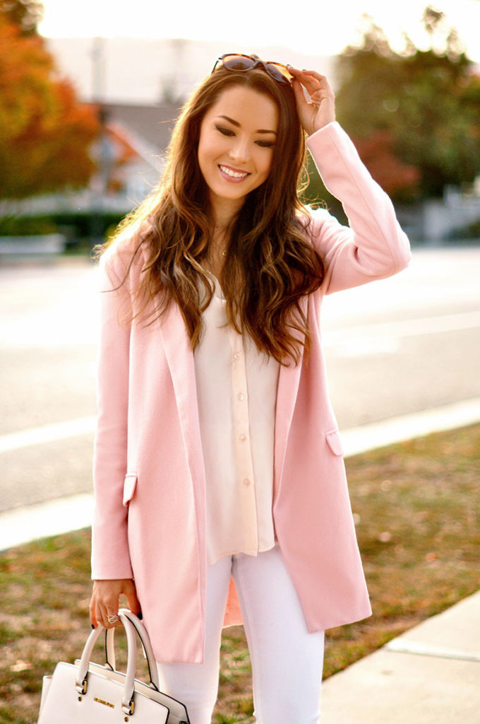 Jessica R. is wearing a pink coat from Sheinside