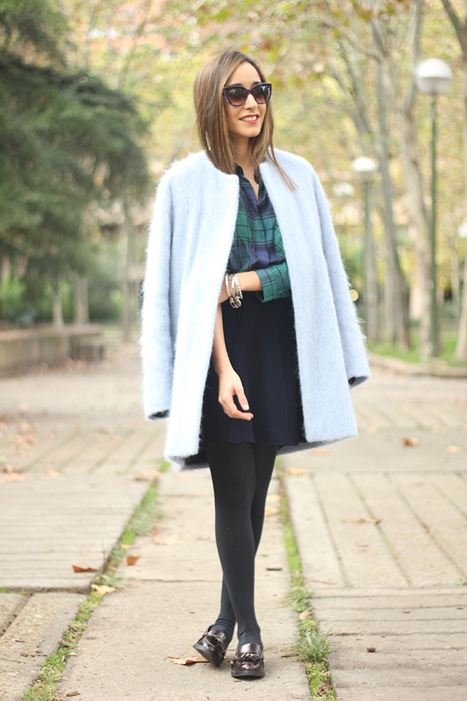 Besugarandspice in her baby blue winter coat from Zara