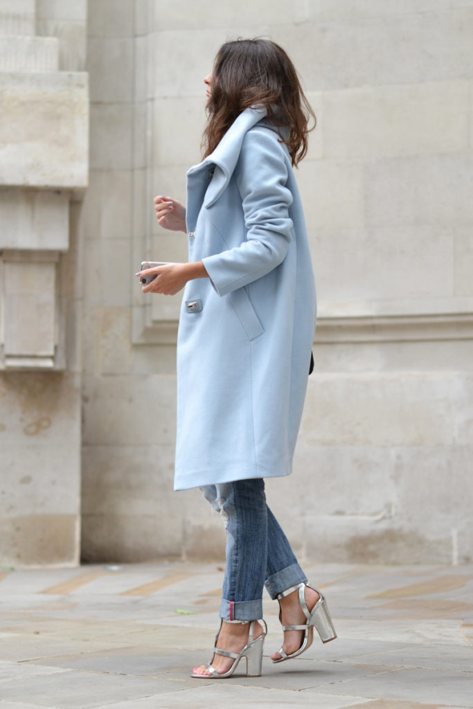 María Sancho is wearing a pastel oversized pod coat from Karen Millen