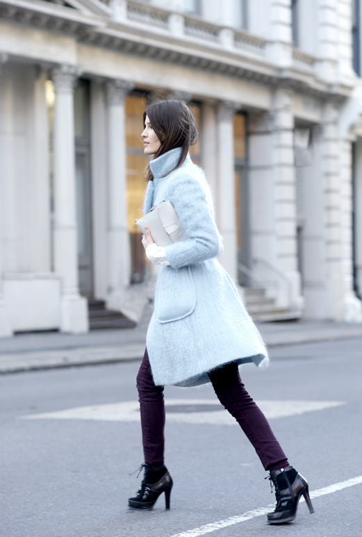 Hanneli Mustaparta is wearing a pastel blue coat from Philosophy Di Alberta Ferretti
