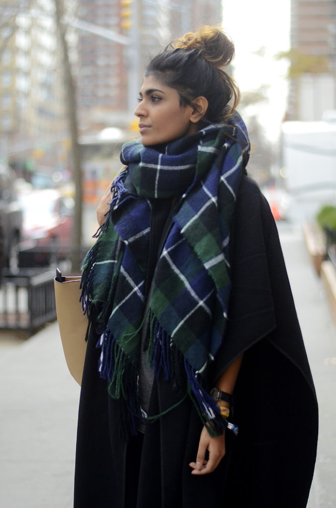 Kavita Donkersley is wearing a huge check scarf from New Look