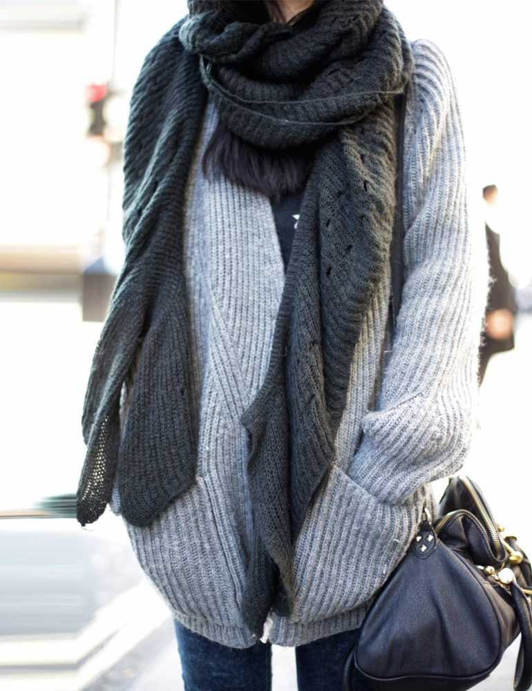 The featured photo comes courtesy of Elle UK: How To Wear An Oversized Scarf: May is wearing a scar from Zara