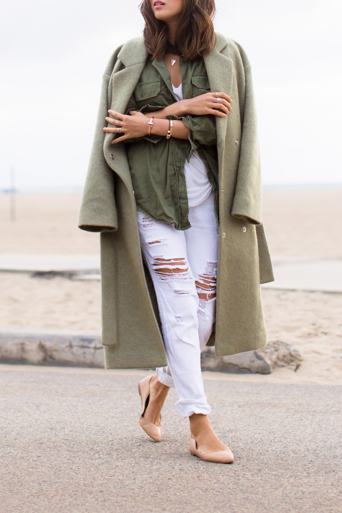 Colourful Coats Fashion: Aimee Song is wearing a khaki coat from Designers Remix