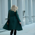 Helena Glazer is wearing a green coat from Burberry Prorsum 2014