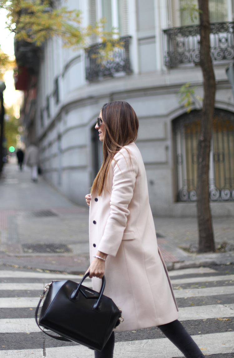 Colourful Coats: Silvia Garcia is wearing a pale pink coat from Zara