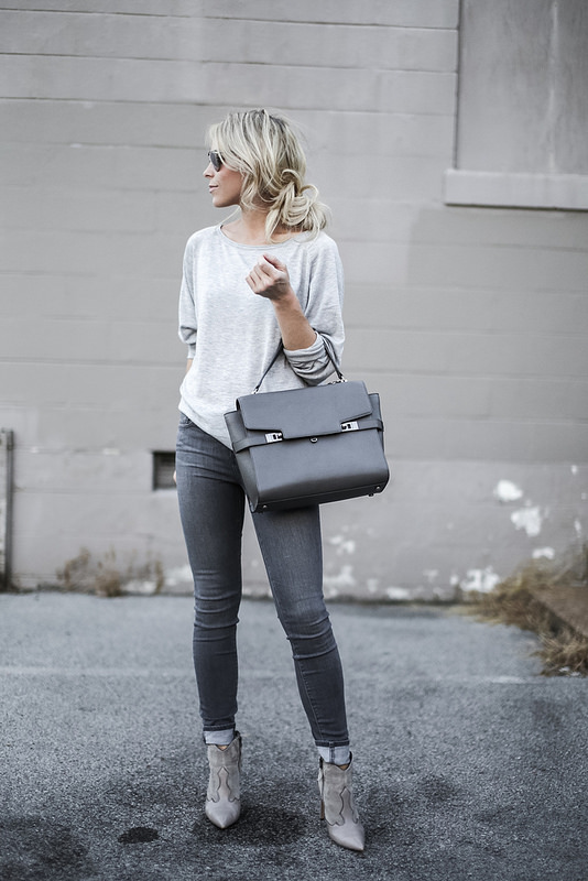 Finish off your grey on grey look with a pair of edgy cowboy boots like these ones, worn by Mary Seng. Boots: Sam Edelman, Jeans/Top: Nordstrom.