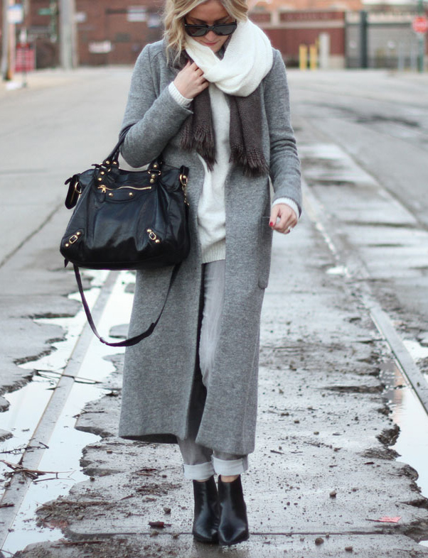 Grey Outfits: C.J. is wearing a grey coat from Zara and grey skinny cords from Gap