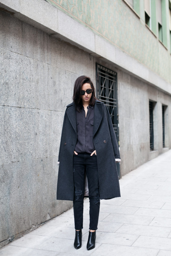 Lucita Yañez is wearing all grey, the coat is from H&M, the jeans, shirts and boots are all from Zara